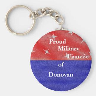 Proud military fiancée (fiancé) of ____________ basic round button key ring