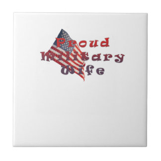 Proud Military Wife Small Square Tile