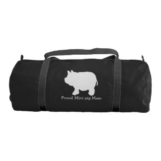 Proud Mini pig Mum with White Mini Pig Gym Bag