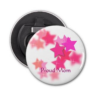 Proud Mom Button Bottle Opener