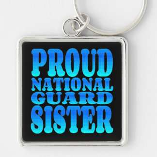 Proud National Guard Sister Silver-Colored Square Key Ring