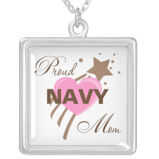 Proud Navy Mom Heart Silver Plated Necklace