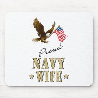 Proud Navy Wife - Eagle Flag Mousepad