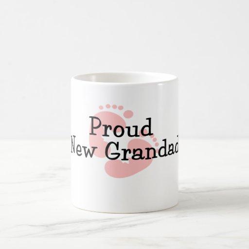 Proud New Grandad Baby Girl Footprints Mug