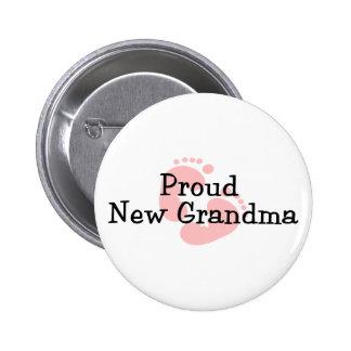 Proud New Grandma Baby Girl Footprints 6 Cm Round Badge