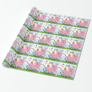 Proud New Grandma - Baby Girl Wrapping Paper