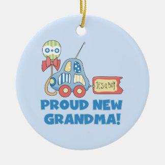 Proud New Grandma It's a Boy Gifts Round Ceramic Decoration