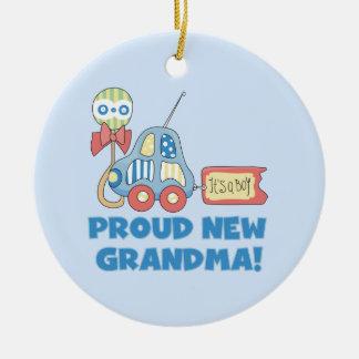 Proud New Grandma It's a Boy Gifts Round Ceramic Decoration