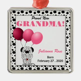 Proud New Grandma Pink Dalmatian Dog Metal Ornament