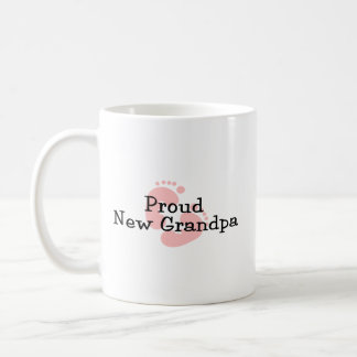 Proud New Grandpa Baby Girl Footprints Coffee Mug