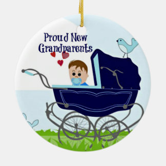 Proud New Grandparents - Blue Ceramic Ornament