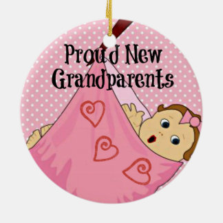 Proud New Grandparents - Pink Ceramic Ornament