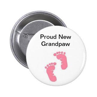 Proud New Grandpaw 6 Cm Round Badge
