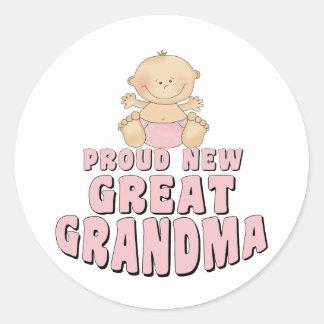 PROUD NEW Great Grandma T-Shirt Round Sticker