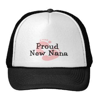 Proud New Nana Baby Girl Footprints Mesh Hats
