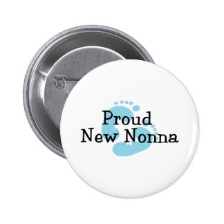 Proud New Nonna Baby Boy Footprints 6 Cm Round Badge