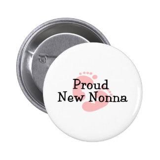 Proud New Nonna Baby Girl Footprints 6 Cm Round Badge