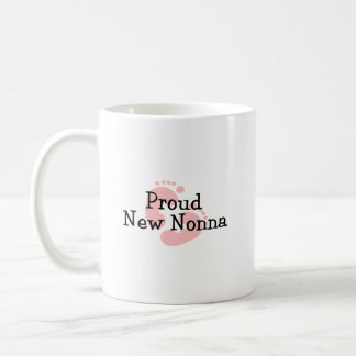 Proud New Nonna Baby Girl Footprints Coffee Mug