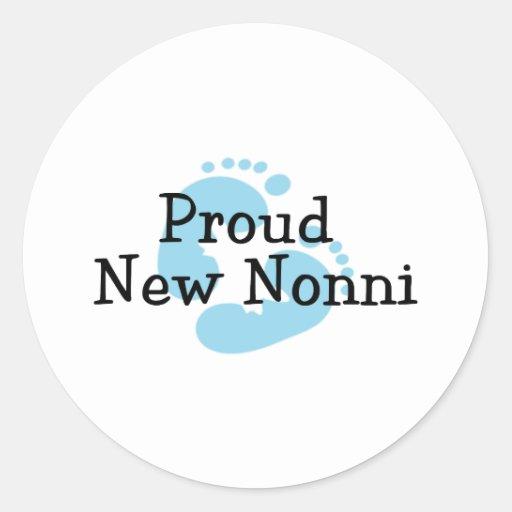 Proud New Nonni Baby Boy Footprints Round Sticker