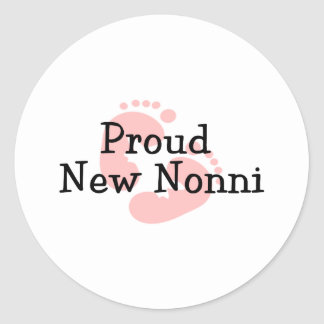 Proud New Nonni Baby Girl Footprints Round Sticker