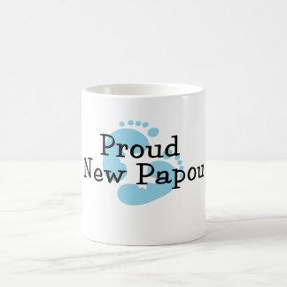 Proud New Papou Baby Boy Footprints Basic White Mug