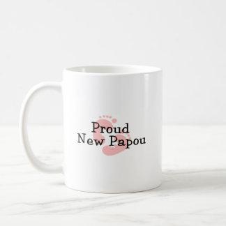 Proud New Papou Baby Girl Footprints Coffee Mug