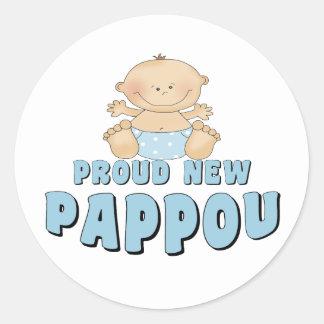 PROUD NEW Pappou Boy Round Sticker