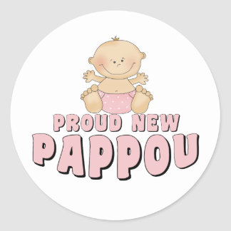 PROUD NEW Pappou Girl Round Sticker