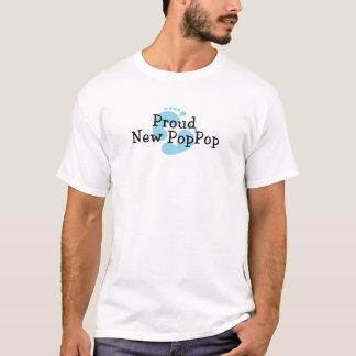 Proud New PopPop Baby boy Footprints T-Shirt