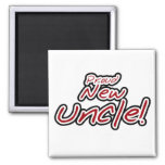Proud New Uncle - Red and Black Text Fridge Magnets