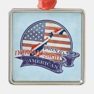 Proud Norwegian American Decoration Silver-Colored Square Decoration