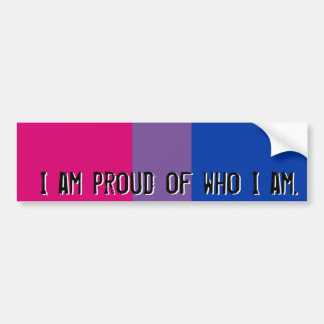 Proud of who I am - Bisexual flag bumper sticker