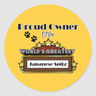 Proud Owner World s Greatest Japanese Spitz Stickers