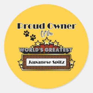 Proud Owner World's Greatest Japanese Spitz Round Sticker