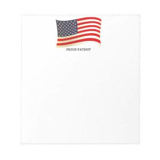 Proud Patriot American Flag Design Notepad