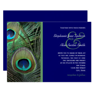Proud Peacock Blue Wedding Invitation