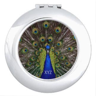 Proud Peacock custom monogram pocket mirror