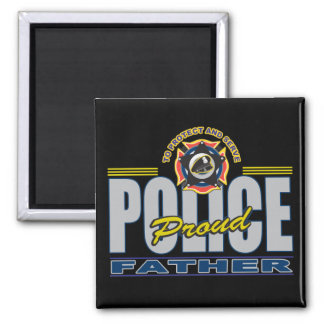 Proud Police Father Square Magnet