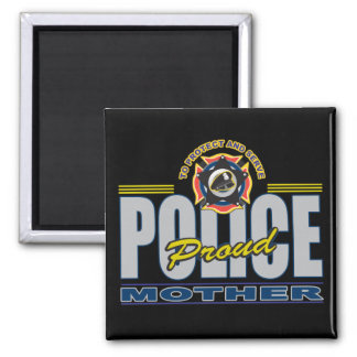 Proud Police Mother Square Magnet