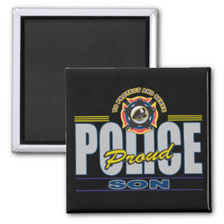 Proud Police Son Square Magnet