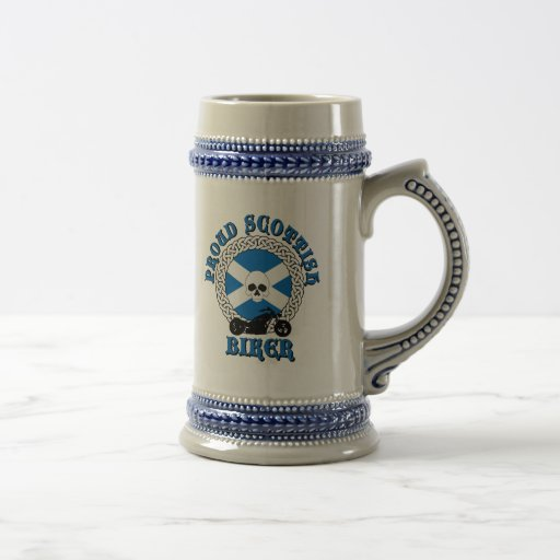 Proud Scottish Biker drinking stein Coffee Mugs