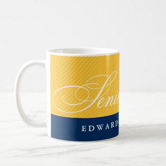 Proud seniors blue yellow stripes class year coffee mug