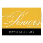 Proud seniors gold black graduation announcement