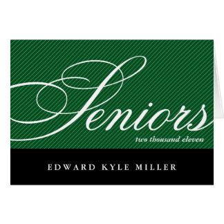 Proud seniors green black graduation announcement greeting card