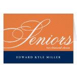Proud seniors navy orange graduation announcement