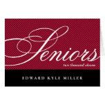 Proud seniors red black graduation announcement