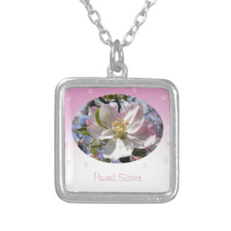 Proud Sister Apple Blossom Flower Square Pendant Necklace