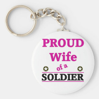 Proud soldiers wife basic round button key ring