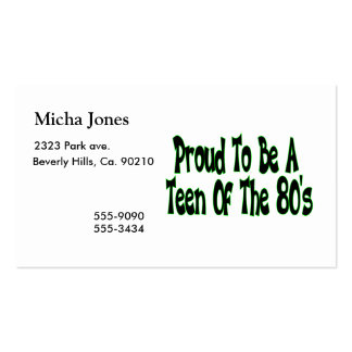Proud To Be 80's Teen Double-Sided Standard Business Cards (Pack Of 100)