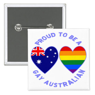 Proud to be a Gay Australian 15 Cm Square Badge